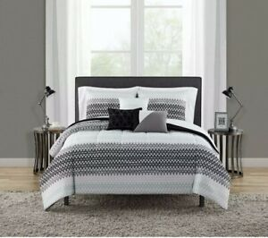 NEW Mainstays Reversible Ombre Triangle  Coordinated 8 Piece Bedding Set T/TXL