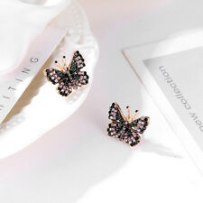 Women Vintage Crystal Rhinestone Ear Stud Butterfly Earrings Jewelry D