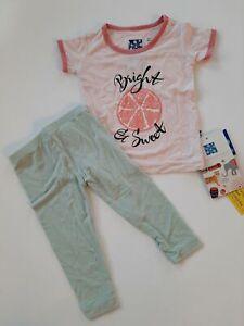 NWT KICKEE Pants 6-12 Bamboo Pajama Set Bright Sweet Pomegranate Top Aloe Pants