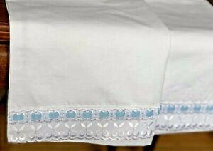 2xKissenbezug 50x70cm Kissenhülle mit Spitzenborte Weiß Blau Sonderpreis Angebot