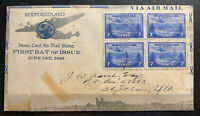 1943  St Johns Newfoundland First Day Cover  FDC Seven Cent Air Mail Stamp Issue