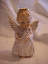 VINTAGE WHITE AND GOLD ANGEL FIGURINE; w/ CANDLE;  MADE IN JAPAN AS IS