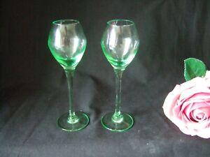 Pair  Vintage Retro  Green Liqueur  Glasses 12.5cm