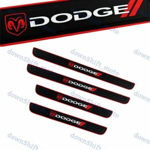 NEW For DODGE 4PCS Black Rubber Car Door Scuff Sill Cover Panel Step Protector