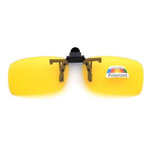 Flip Up Clip On Sunglasses Glasses Polarized Night Vision Eyewear Driving Len US