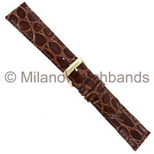 19mm Speidel Mens Brown Croco Grain Genuine Leather Padded Watch Band Strap
