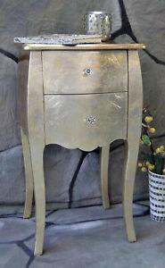 Kommode Beistelltisch 2 Schubladen Pomp GOLD barock Landhaus LV2013 #1B WARE