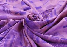 Vintage Purple Saree Printed Pure Crepe Silk Indian Sari Craft Dress Fabric