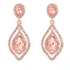 Rose Gold Teardrop Crystal Earring Dangle Long Rhinestone Chandelier Wedding Jew