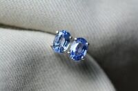 2. CT Oval Cut Blue Sapphire Solitaire Stud Earrings 14K White Gold Finish
