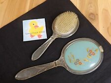 Vintage HAIR BRUSH AND HAND MIRROR Set White Acrylic Blue Floral Mid Century Mod