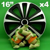 """Hubcaps 16"""" Terra 4 x Wheel Trim Cover BLACK+SILVER for PEUGEOT Captur Espace"""