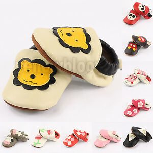 Baby Infant Toddler Soft Sole Slip on Leather Moccasins Shoes Socks Slippers