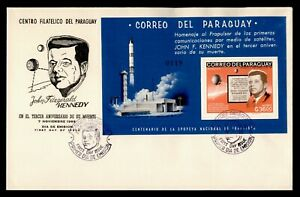 DR WHO 1966 PARAGUAY FDC JOHN F KENNEDY JFK SPACE S/S  g02258