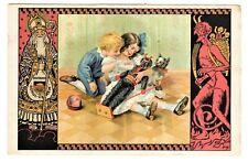 POSTCARD KRAMPUS & ST. NICHOLAS CHILDREN HOLD KRAMPUS DOLL (NP)