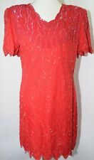 Vtg Laurence Kazar Silk Red Beaded Sequin Party New Years Holiday Dress Women Pl