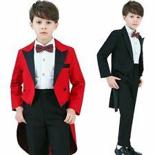 Bambini Bimbi Smoking Coda Abiti Formale Matrimonio Frac 4 Pezzi Set Costume Da