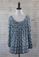 JOIE Priscilla Knit Top Sz SMALL Drawstring Neckline Blue White Print Peasant