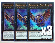 YuGiOh, 3X, Raidraptor - Force Strix, BLLR-EN072, Ultra Rare, New, Mint
