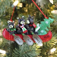 Black Bears Family of 3 in A Canoe Personalized Christmas Tree Ornament Gift