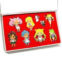 9pc/Set Sailor Moon Figure Tsukino Usagi Pendant Necklace Cat Charm Keychain Cos
