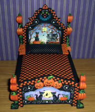 Dollhouse Hand Painted Miniature Halloween Bed Cat Witch Pumpkin L.Lassige OOAK