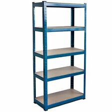 5 Tier Shelf Shelving Unit Racking Boltless Industrial Storage Steel Blue Large