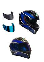 casco moto agv k1 qualify blu + visiera specchio+ visiera fume' + trasparente