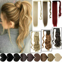 Straight/Curly Thick Clip In Human Hair Extensions Wrap On Ponytail Hairpiece