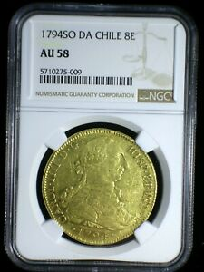 Spanish Colonial Chile 1794 SO DA Gold 8 Escudos *NGC AU-58* Only 5 Graded Highr