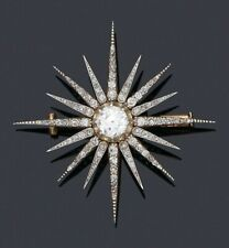 Real 14k Yellow Gold over 925 Sterling Silver Star Vintage Style CZ Brooch Pin