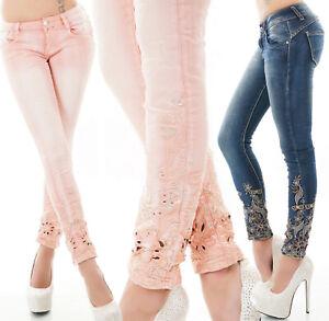 Jeans donna pantalone skinny alto ricamo fondo gamba elasticizzato nuovo