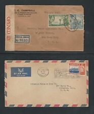 Jamaica: 2 Cover, 1960 to USA and 1939 with censorship, air mail. JA07