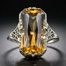 Rectangle Citrine 925 Silver Ring for Women Party Jewelry Gift Size 6-10
