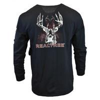 REALTREE Mens Long Sleeve T Shirt Camo Hunting Logo American Sleeve BLACK NEW