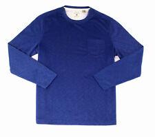 NWT Tasso Elba Blue Men Size Long-Sleeve Crewneck Tee T-Shirt Size Large RTL $39