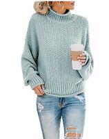 LOMON Womens Turtleneck Sweaters Oversized Batwing Long Sleeve Pullover Loose
