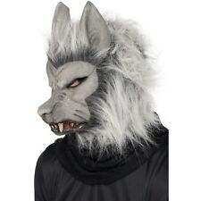 Grey Latex Warewolf Wolf Over Head Mask Hair Mens Adults Fancy Dress Accessory