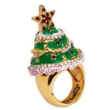 """""""Merry Christmas"""" Tree Cocktail Ring(Goldtone) Size 8/Multicolor - Ritzy Couture"""