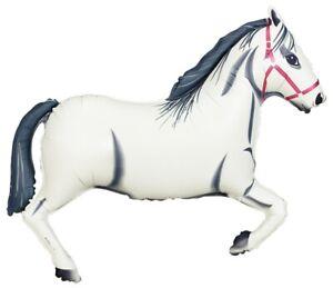 """HORSE BALLOON 43"""" MELBOURNE CUP RACING HORSE WHITE SUPERSHAPE BETALLIC BALLOON"""