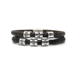 Mens Personalised Leather Bracelet with Hand Stamped Name Beads - Free Delivery