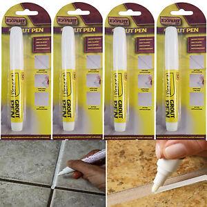 4 x WHITE GROUT PEN REVIVER STICK KITCHEN SHOWER BATHROOM TILE ANTI MOULD