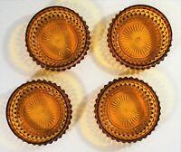 Vintage Amber Cut Glass Diamond Pattern 5 inch bowls Set of 4 VTG slight damage