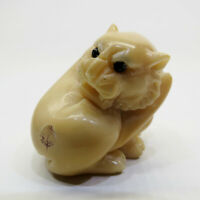 Antique Japanese Netsuke Signed Iriomote cat hand carved nut 42x38x36mm