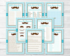 Little Man Mustache Chevron Baby Shower Games Pack - 8 Printable Games