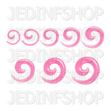 Ear Taper Stretcher - Spiral Snail | 1.6mm-10mm | Light Pink Solid Acrylic
