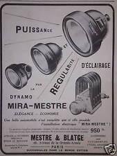 PUBLICITÉ MESTRE & BLATGE DYNAMO MIRA-MESTRE PUISSANCE RÉGULARITÉ D'ÉCLAIRAGE