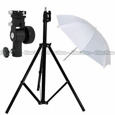 "Pro Studio Light Stand + Flash Speedlite D Bracket Mount + 33""White Umbrella Kit"
