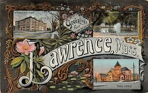 H61/ Lawrence Massachusetts Postcard 1909 3View Fancy Border High School