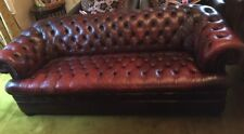 Oxblood Red Leather Antique Style Deep Buttoned leather Chesterfield Sofa 3 Seat